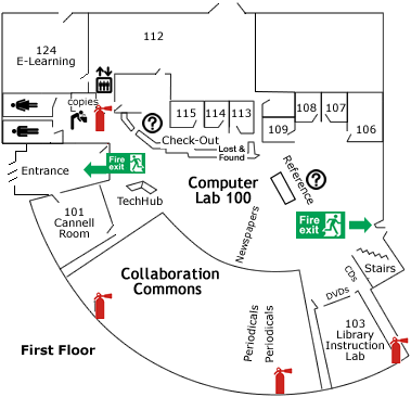 first floor map with green fire exits